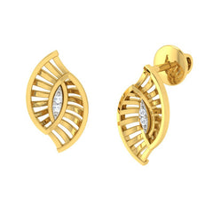 diamond studded gold jewellery - Tyfani Stud Earrings - Pristine Fire - 1