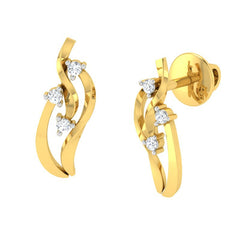 diamond studded gold jewellery - Tynesha Stud Earrings - Pristine Fire - 1