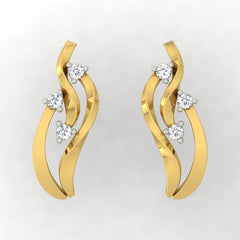 diamond studded gold jewellery - Tynesha Stud Earrings - Pristine Fire - 2