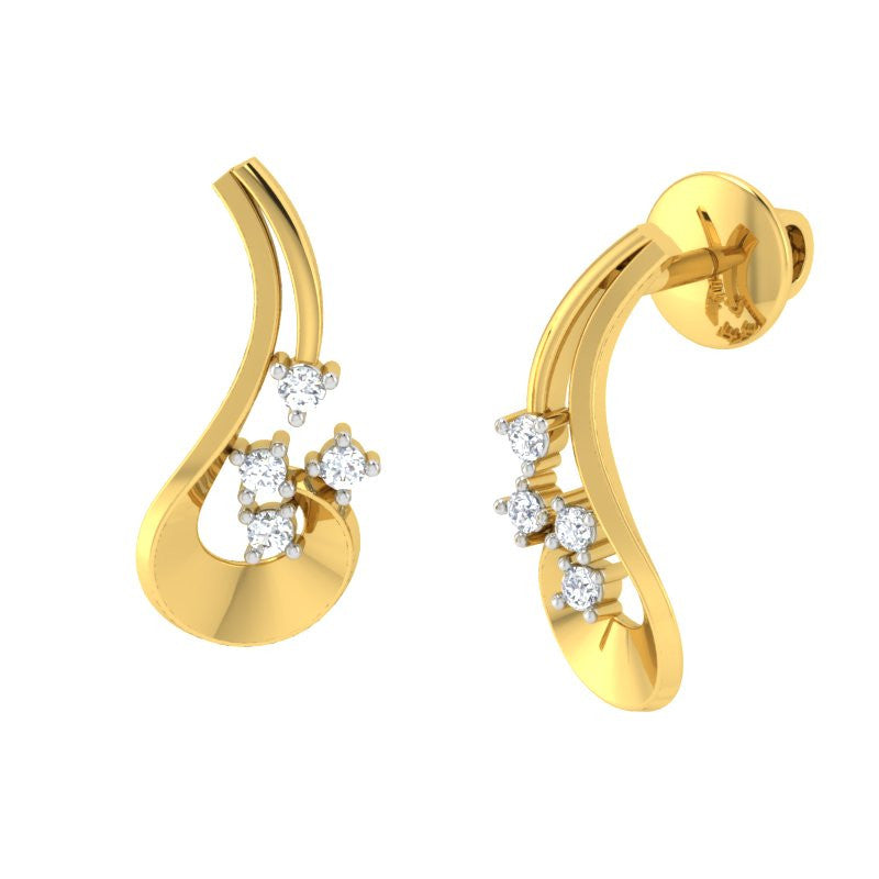 diamond studded gold jewellery - Ulalia Stud Earrings - Pristine Fire - 1
