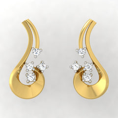 diamond studded gold jewellery - Ulalia Stud Earrings - Pristine Fire - 2