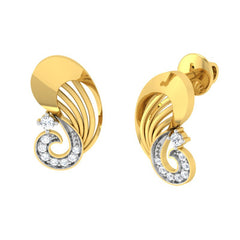 diamond studded gold jewellery - Umbelina Stud Earrings - Pristine Fire - 1