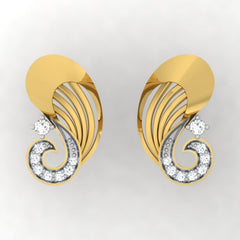 diamond studded gold jewellery - Umbelina Stud Earrings - Pristine Fire - 2