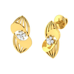 diamond studded gold jewellery - Uniqua Stud Earrings - Pristine Fire - 1