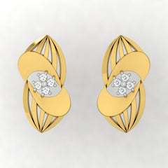 diamond studded gold jewellery - Uniqua Stud Earrings - Pristine Fire - 2