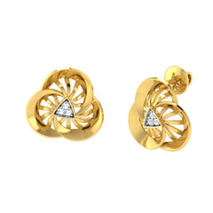 diamond studded gold jewellery - Ursina Stud Earrings - Pristine Fire - 1
