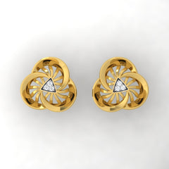 diamond studded gold jewellery - Ursina Stud Earrings - Pristine Fire - 2