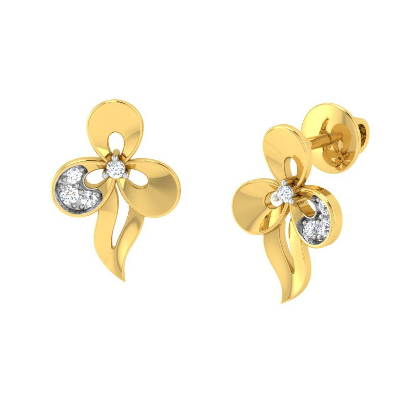 diamond studded gold jewellery - Uzza Stud Earrings - Pristine Fire - 1