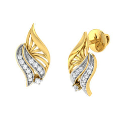 diamond studded gold jewellery - Wadd Stud Earrings - Pristine Fire - 1