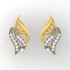 diamond studded gold jewellery - Wadd Stud Earrings - Pristine Fire - 2