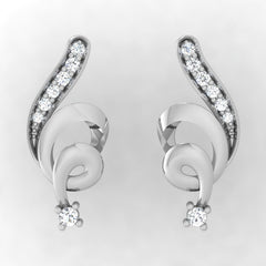 diamond studded gold jewellery - Waheeda Stud Earrings - Pristine Fire - 2