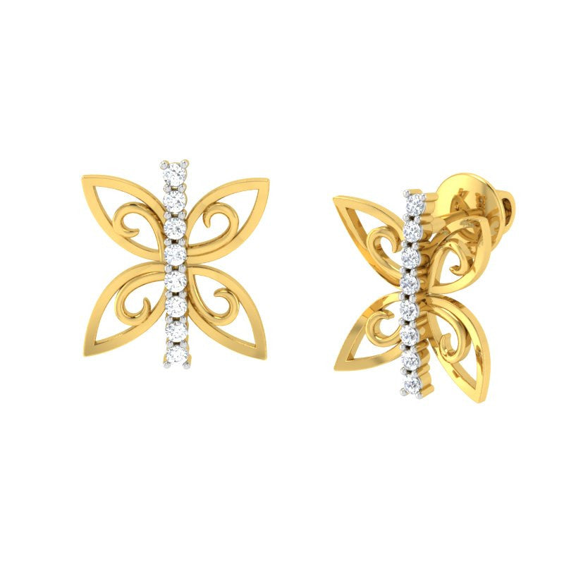 diamond studded gold jewellery - Wainani Stud Earrings - Pristine Fire - 1