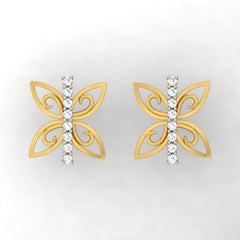 diamond studded gold jewellery - Wainani Stud Earrings - Pristine Fire - 2