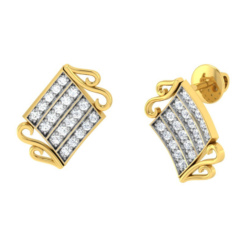 diamond studded gold jewellery - Wakeisha Stud Earrings - Pristine Fire - 1