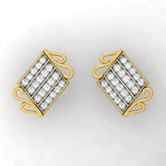 diamond studded gold jewellery - Wakeisha Stud Earrings - Pristine Fire - 2