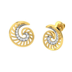 diamond studded gold jewellery - Walda Stud Earrings - Pristine Fire - 1