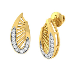 diamond studded gold jewellery - Waleria Stud Earrings - Pristine Fire - 1