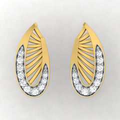diamond studded gold jewellery - Waleria Stud Earrings - Pristine Fire - 2