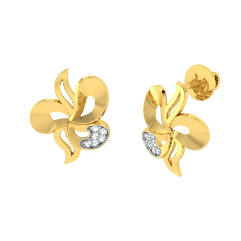 diamond studded gold jewellery - Wanekia Stud Earrings - Pristine Fire - 1