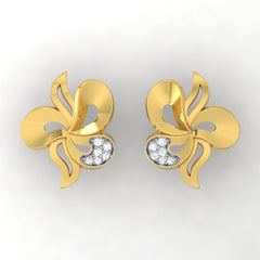 diamond studded gold jewellery - Wanekia Stud Earrings - Pristine Fire - 2