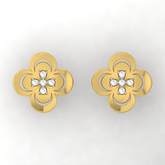 diamond studded gold jewellery - Waneta Stud Earrings - Pristine Fire - 2