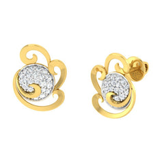 diamond studded gold jewellery - Wanika Stud Earrings - Pristine Fire - 1