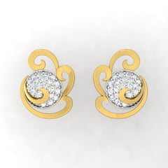 diamond studded gold jewellery - Wanika Stud Earrings - Pristine Fire - 2