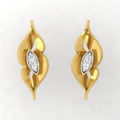 diamond studded gold jewellery - Wasila Stud Earrings - Pristine Fire - 2