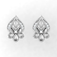 diamond studded gold jewellery - Wauna Stud Earrings - Pristine Fire - 2