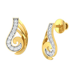 diamond studded gold jewellery - Wava Stud Earrings - Pristine Fire - 1