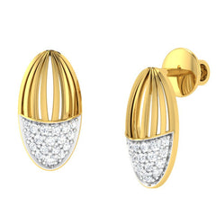 diamond studded gold jewellery - Waverly Stud Earrings - Pristine Fire - 1