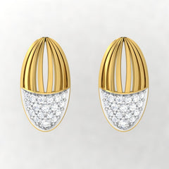 diamond studded gold jewellery - Waverly Stud Earrings - Pristine Fire - 2