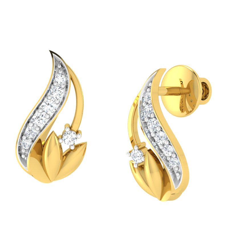 diamond studded gold jewellery - Waynette Stud Earrings - Pristine Fire - 1
