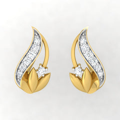 diamond studded gold jewellery - Waynette Stud Earrings - Pristine Fire - 2