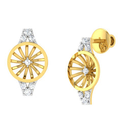 diamond studded gold jewellery - Wendi Stud Earrings - Pristine Fire - 1