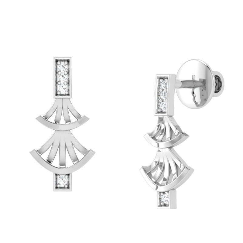 diamond studded gold jewellery - Whitni Stud Earrings - Pristine Fire - 1