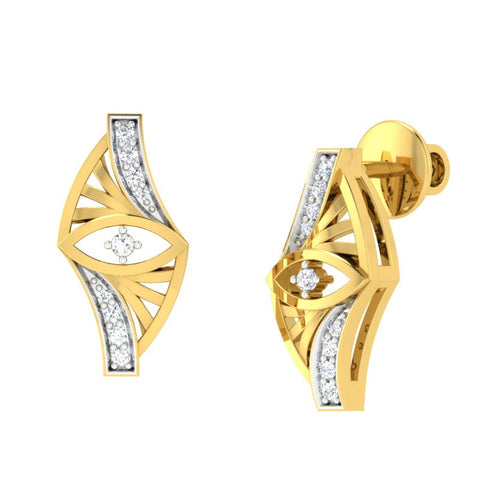 diamond studded gold jewellery - Whoopi Stud Earrings - Pristine Fire - 1