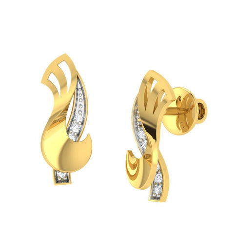 diamond studded gold jewellery - Wilda Stud Earrings - Pristine Fire - 1