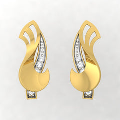 diamond studded gold jewellery - Wilda Stud Earrings - Pristine Fire - 2