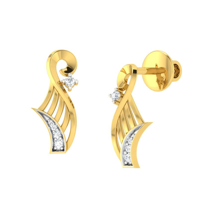 diamond studded gold jewellery - Wileen Stud Earrings - Pristine Fire - 1