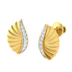 diamond studded gold jewellery - Wilhelmina Stud Earrings - Pristine Fire - 1