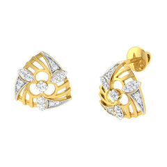 diamond studded gold jewellery - Wilona Stud Earrings - Pristine Fire - 1