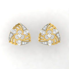 diamond studded gold jewellery - Wilona Stud Earrings - Pristine Fire - 2