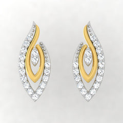 diamond studded gold jewellery - Winifred Stud Earrings - Pristine Fire - 2