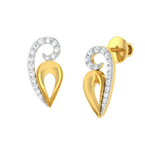 diamond studded gold jewellery - Winna Stud Earrings - Pristine Fire - 1