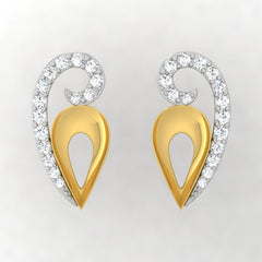diamond studded gold jewellery - Winna Stud Earrings - Pristine Fire - 2