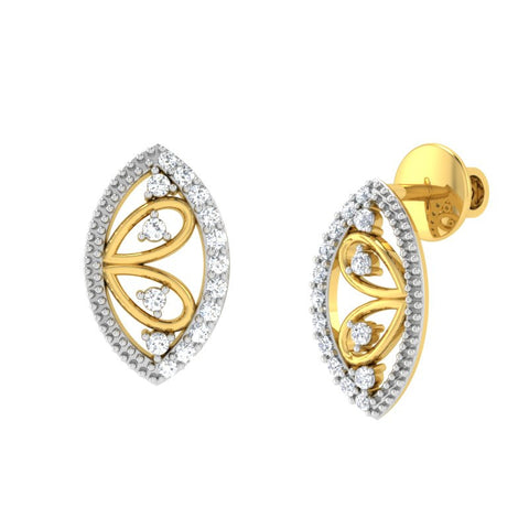 diamond studded gold jewellery - Winnie Stud Earrings - Pristine Fire - 1