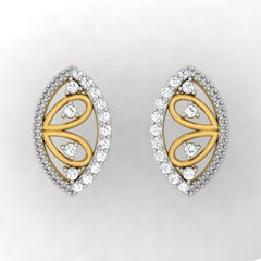 diamond studded gold jewellery - Winnie Stud Earrings - Pristine Fire - 2