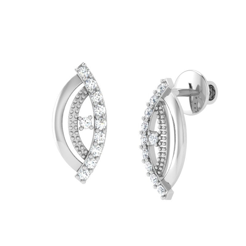 diamond studded gold jewellery - Winola Stud Earrings - Pristine Fire - 1