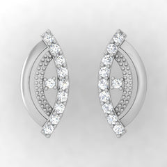 diamond studded gold jewellery - Winola Stud Earrings - Pristine Fire - 2